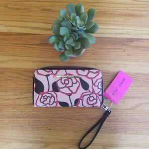 Betsey Johnson Blush Floral Zipper Wallet Wristlet
